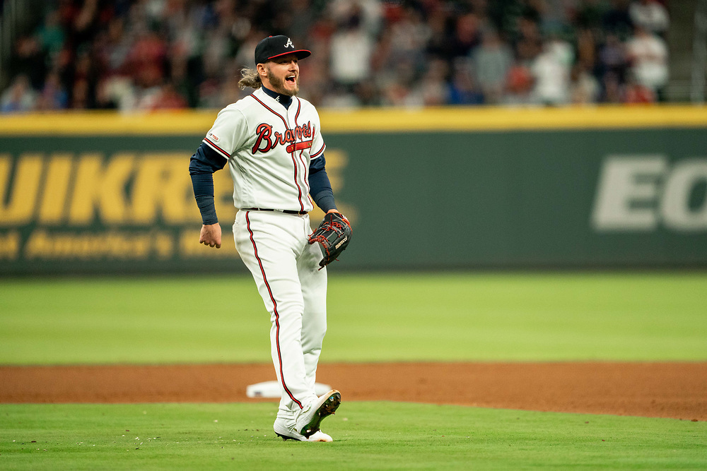 Josh Donaldson smiles after making a play during the home opener against the Chicago Cubs on Monday, April 1, 2019. The Braves won 8-0. Photo by Kevin D. Liles/Atlanta Braves