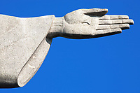 hand detail Christ the Redeemer statue in rio de janeiro in brazil