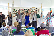 """Goshen, New York - Actors take their bows after performing in """"The Merry Wives of Windsor' outdoors at Salesian Park in Goshen on July 20, 2013. The Shakespeare in Salesian Park play was presented by Cornerstone Arts Alliance  and sponsored by the Goshen Public Library & Historical Society. ©Tom Bushey / The Image Works"""