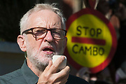 Jeremy Corbyn, former Labour Party leader, addresses hundreds of young people in Parliament Square taking part in a Global Climate Strike to demand intersectional climate justice on 24th September 2021 in London, United Kingdom. The Global Climate Strike was organised to highlight the detrimental influences through colonialism, imperialism and exploitation of the Global North on MAPA Most Affected Peoples and Areas, which have contributed to them now experiencing the worst impacts of the climate crisis, and to call on the Global North to pay reparations to MAPA.