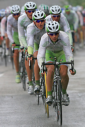 Riders of team Perutnina Ptuj (in front Kristjan Fajt of Slovenia (Perutnina Ptuj) and Kristjan Durasek of Croatia (Perutnina Ptuj)) leading the peloton in last 4th stage of the 15th Tour de Slovenie from Celje to Novo mesto (157 km), on June 14,2008, Slovenia. (Photo by Vid Ponikvar / Sportal Images)/ Sportida)
