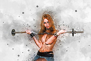 Digitally enhanced image of a topless Tattooed blond model weight lifting