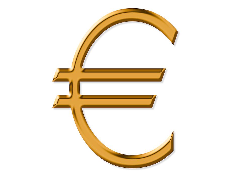 Goldpreis Euro Währungssymbol in goldener Farbe. Goldpreis auf Allzeithoch   <br /> Golden Euro currency symbol,€