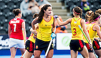 LONDON -  Unibet Eurohockey Championships 2015 in  London. Spain v Poland (10-0) . Lola Riera (17) has scored for Spain  WSP Copyright  KOEN SUYK