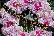 Iconic actress Elizabeth Taylor died at Cedar-Sinai hospital due to congestive heart failure. .Iris flowers were placed on her star on the Hollywood Walk of Fame, along with a purple flower wreath..