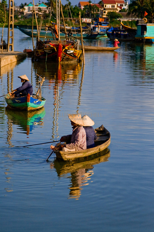 Small boats on the Thu Bon river in Hoi An.
