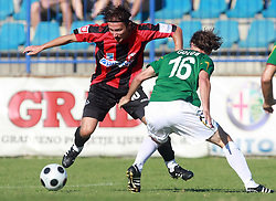 Miha Golob (16) of Rudar (R)  and Nedzad Serdarevic (10) of Primorje at 6th Round of PrvaLiga Telekom Slovenije between NK Primorje Ajdovscina vs NK Rudar Velenje, on August 24, 2008, in Town stadium in Ajdovscina. Primorje won the match 3:1. (Photo by Vid Ponikvar / Sportal Images)