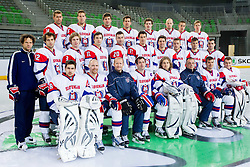 Group photo prior to the first practice session of Slovenian National Ice Hockey team in Arena Stozice before 2012 IIHF World Championship DIV I Group A in Slovenia, on April 13, 2012, in Arena Stozice, Ljubljana, Slovenia. (Photo by Vid Ponikvar / Sportida.com)
