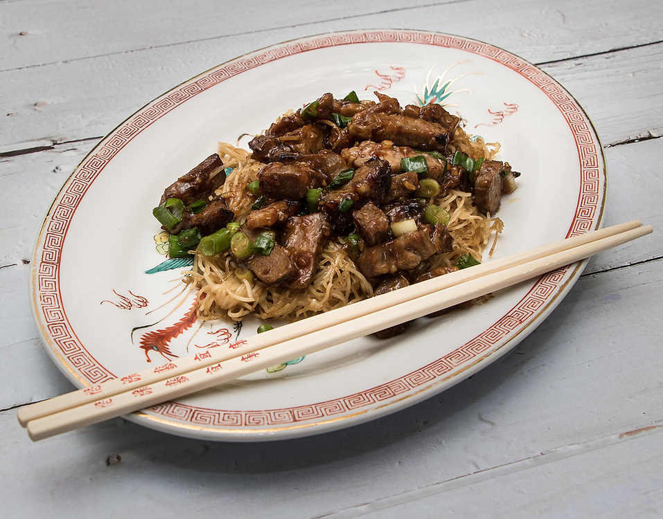 Pan-Fried Noodles with Roast Pork and Scallions in a sauce made from Oyster Sauce and Chili Oil with Black Beans
