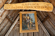 An interior of the small chapel of St. Jana Chrzciciela at the top of Polana Chocholowska a hiking route on Dolina Chocholowska in the Tatra National Park, on 17th September 2019, near Zakopane, Malopolska, Poland.