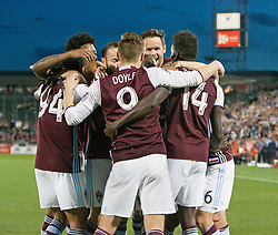 March 18, 2017 - Commerce City, Colorado, U.S - Rapids DOMINIQUE BADJI, right, celebrates with team mates after scoring his teams first goal of the game during the 1st. Half at Dicks Sporting Goods Park Sat. night. The Rapids draw 2-2 to Minnesota United FC. (Credit Image: © Hector Acevedo via ZUMA Wire)