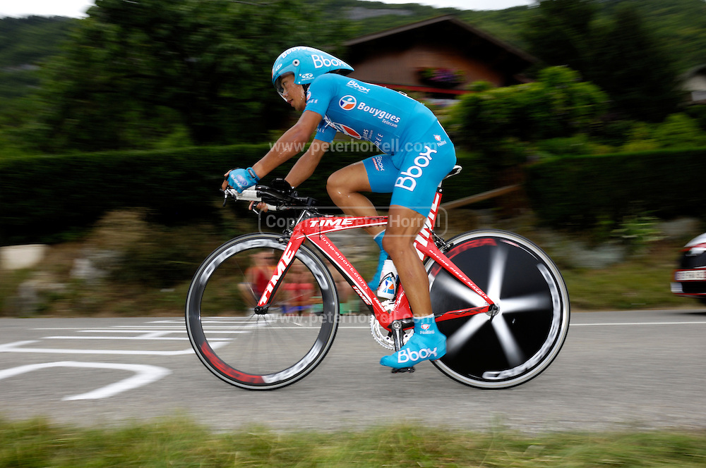 France, Talloire, 22 July 2009: Yukiya Arashiro (Jpn) on the Côte de Bluffy during Stage 18 - a 40.5 km Annecy to Annecy individual time trial. Photo by Peter Horrell / http://peterhorrell.com .