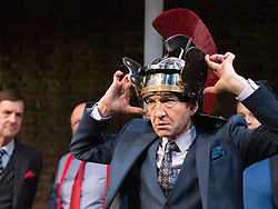 """© Licensed to London News Pictures. 16/04/2015. London, England. Pictured: Greg Hicks as Editor Morris Honeyspoon. Arcola Theatre presents the World Premiere of the Fleet Street comedy """"Clarion"""" by Mark Jagasia. The play is directed by Mehmet Ergen with Greg Hicks as power-crazed editor Morris Honeyspoon and Clare Higgins as washed-up journalist Verity Stokes. """"Clarion"""" runs at the Arcola from 15 April to 16 May 2015. Photo credit: Bettina Strenske/LNP"""