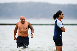 Soane Tonga'uiha looks on as Bristol Rugby take part in a morning after game recovery session in the sea - Rogan/JMP - 29/10/2017 - RUGBY UNION - Jersey Marine Lake - St Helier, Jersey - Jersey Reds v Bristol Rugby - Greene King IPA Championship.