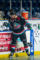 KELOWNA, CANADA - OCTOBER 5:  Wil Kushniryk #14 of the Kelowna Rockets throws the pucks onto the ice at the start of warm up against the Victoria Royals on October 5, 2018 at Prospera Place in Kelowna, British Columbia, Canada.  (Photo by Marissa Baecker/Shoot the Breeze)  *** Local Caption ***