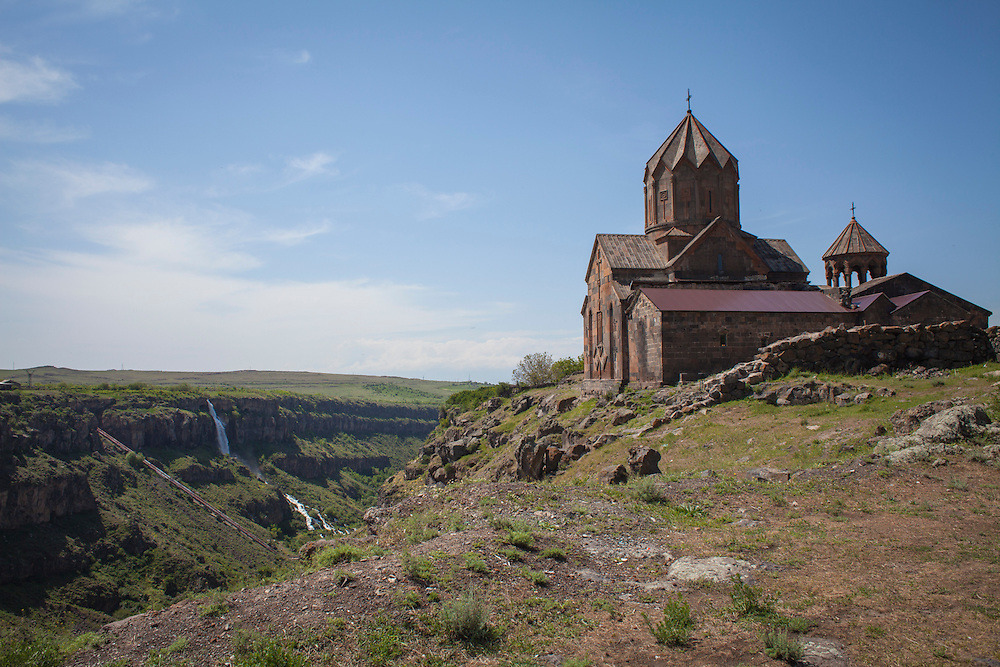 Hovhannavank is an Armenian Apostolic Church monastery located in the village of Ohanavan in the Aragatsotn Province of Armenia. The monastery stands on the edge of the Qasakh River Canyon, and its territory is adjacent to the village of Ohanavan. Built in 1216. Armenia, 2014.