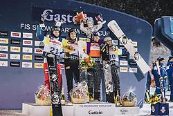 08.01.2019, Bucheben Piste, Bad Gastein, AUT, FIS Weltcup Snowboard, Parallelslalom, Herren, Siegerehrung, im Bild 2. Platz Dario Caviezel (SUI), Sieger Stefan Baumeister (GER), 3. Platz Benjamin Karl (AUT) mit Tochter Benina, 4. Platz Lukas Mathies (AUT) // 2nd placed Dario Caviezel of Switzerland Winner Stefan Baumeister of Germany 3rd placed Benjamin Karl of Austria with his Daughter Benina 4th placed Lukas Mathies of Austria during the winner ceremony for the men's parallel Slalom of the FIS Snowboard Worldcup at the Bucheben Piste in Bad Gastein, Austria on 2019/01/08. EXPA Pictures © 2019, PhotoCredit: EXPA/ JFK