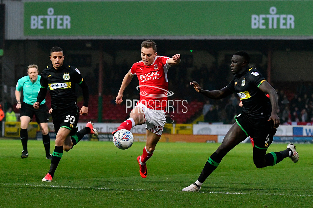 Scott Twine (27) of Swindon Town on the attack during the EFL Sky Bet League 2 match between Swindon Town and Yeovil Town at the County Ground, Swindon, England on 10 April 2018. Picture by Graham Hunt.