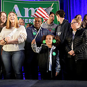 Supporters of Democratic presidential candidate Amy Klobuchar and potential caucus voters are seen before a 'Get Out the Caucus' rally at the Franklin Jr. High School in Beaverdale, Iowa on Saturday, February 1, 2020.