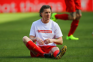 Steve McManaman of Liverpool legends team warming up. Liverpool Legends  v Real Madrid Legends, Charity match for the LFC Foundation at the Anfield stadium in Liverpool, Merseyside on Saturday 25th March 2017.<br /> pic by Chris Stading, Andrew Orchard sports photography.