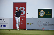 Luke BROWN (NZL) watches his tee shot on 18 during Rd 1 of the Asia-Pacific Amateur Championship, Sentosa Golf Club, Singapore. 10/4/2018.<br /> Picture: Golffile | Ken Murray<br /> <br /> <br /> All photo usage must carry mandatory copyright credit (© Golffile | Ken Murray)