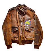 A-2 jacket that belonged to 1 Lt. Seymour Fainberg, a B-17 navigator/bombardier.