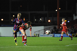 Bristol Academy Womens' Angharad James takes a shot at goal. - Photo mandatory by-line: Dougie Allward/JMP - Mobile: 07966 386802 - 13/11/2014 - SPORT - Football - Bristol - Ashton Gate - Bristol Academy Womens FC v FC Barcelona - Women's Champions League