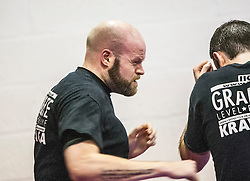Andy punching at the start of the session. Stef Noij, KMG Instructor from the Institute Krav Maga Netherlands, takes the IKMS G Level Programme seminar today at the Scottish Martial Arts Centre, Alloa.