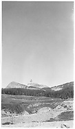 A distant view of Lizard Head Peak as seen from the RGS Snow siding.<br /> RGS  Snow, CO  ca. ? 1957<br /> Also at RD137-014.<br /> Thanks to Don Bergman for additional information.
