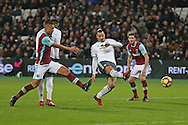 Zlatan Ibrahimovic of Manchester United shoots to score his sides 2nd goal. Premier league match, West Ham Utd v Manchester Utd at the London Stadium, Queen Elizabeth Olympic Park in London on Monday 2nd January 2017.<br /> pic by John Patrick Fletcher, Andrew Orchard sports photography.