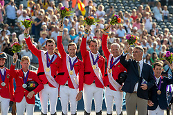 Team Belgium, Wathelet Gregory, BEL, Devos Pieter, BEL, Guery Jerome, BEL, Verlooy Jos, BEL<br /> European Championship Jumping<br /> Rotterdam 2019<br /> © Dirk Caremans