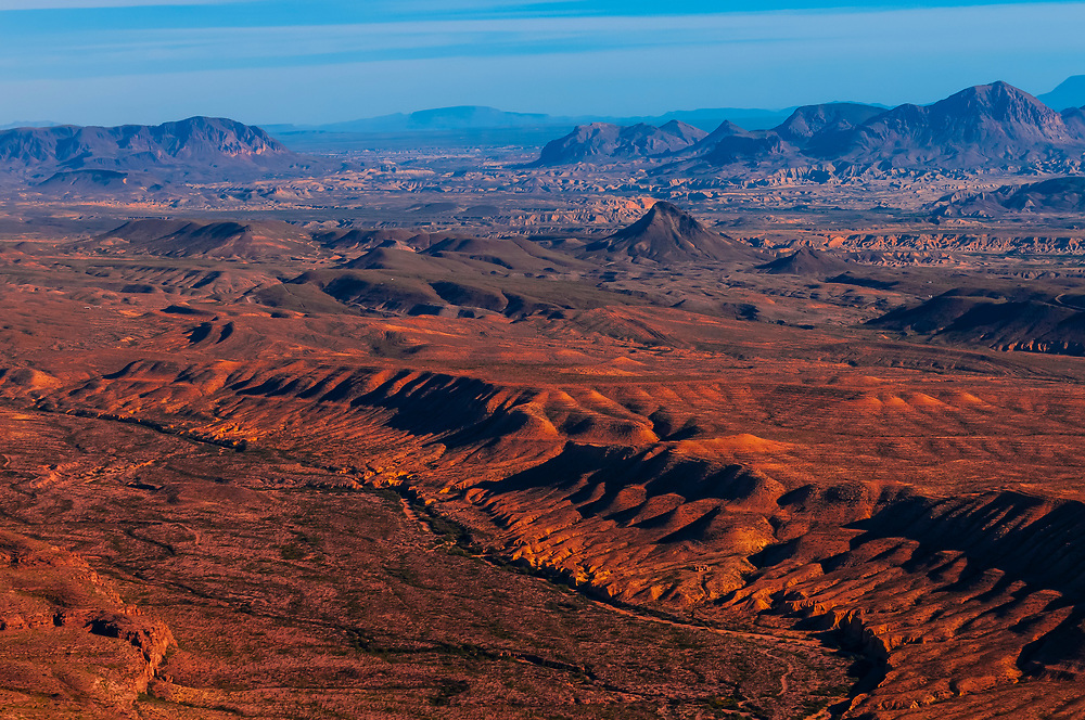 Aerial view of the Chihuahuan Desert near Big Bend National Park, Texas USA.