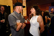 Rebecca Rusch chats with an attendee at the screening of Blood Road at the Bluebird Theater in Denver, CO, USA on 27 June, 2017.
