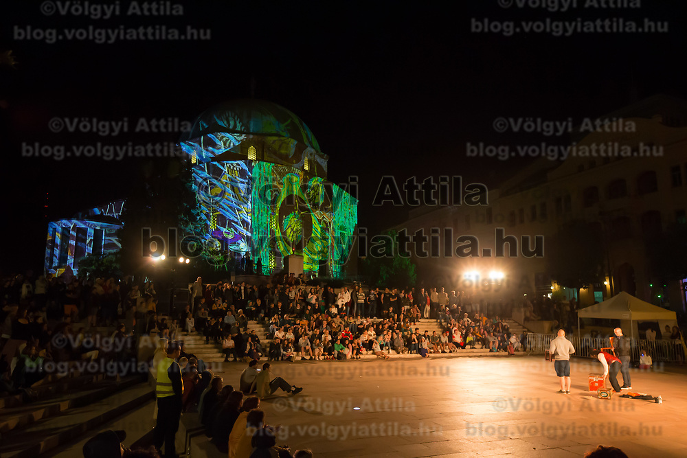 Zsolnay Light Festival held in central Pecs, Hungary on June 30, 2018. ATTILA VOLGYI