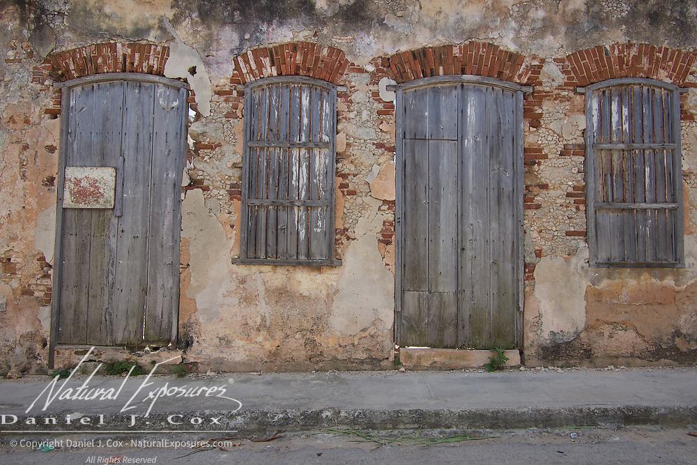 Run down, dilapidated buildings in Terrazas, the small seaside fishing  community of Cojimar, Cuba