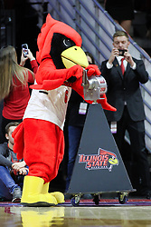 NORMAL, IL - February 02: Reggie Redbird rocks the siren to start the introductions during a college basketball game between the ISU Redbirds and the University of Loyola Chicago Ramblers on February 02 2019 at Redbird Arena in Normal, IL. (Photo by Alan Look)