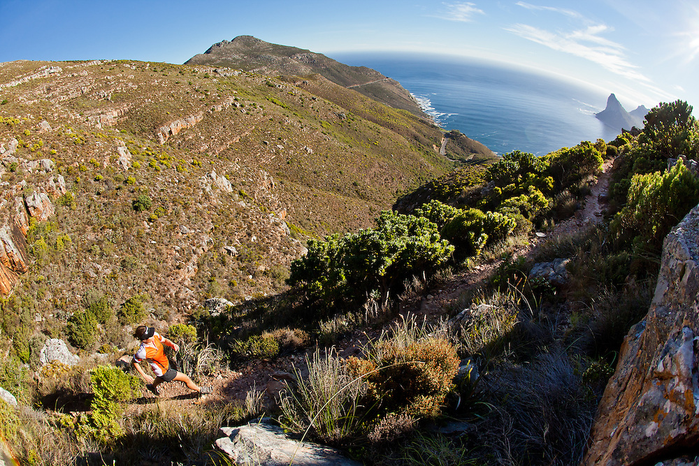 Tatum Prins runs the East Fort Trail above iconic Chapmans Peak Drive in Hout Bay.