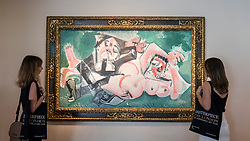 """© Licensed to London News Pictures. 28/06/2018. LONDON, UK. Visitors pose with """"Les dormeurs"""", 1965, by Pablo Picasso.  Members of the public visit Masterpiece London, the world's leading cross-collecting art fair held in the grounds of the Royal Hospital Chelsea.  The fair brings together 160 international exhibitors presenting works from antiquity to the present day and runs 28 June to 4 July 2018.  Photo credit: Stephen Chung/LNP"""