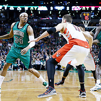13 March 2013: Boston Celtics small forward Paul Pierce (34) drives past Toronto Raptors small forward Rudy Gay (22) on a screen set by Boston Celtics center Kevin Garnett (5) during the Boston Celtics 112-88 victory over the Toronto Raptors at the TD Garden, Boston, Massachusetts, USA.