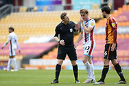 Scunthorpe United Alfie Beestin (22) suffers head injury during the EFL Sky Bet League 2 match between Bradford City and Scunthorpe United at the Utilita Energy Stadium, Bradford, England on 1 May 2021.