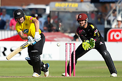 Gloucestershire's Ryan Higgins fends one to the onside<br /> <br /> Photographer Simon King/Replay Images<br /> <br /> Vitality Blast T20 - Round 1 - Somerset v Gloucestershire - Friday 6th July 2018 - Cooper Associates County Ground - Taunton<br /> <br /> World Copyright © Replay Images . All rights reserved. info@replayimages.co.uk - http://replayimages.co.uk