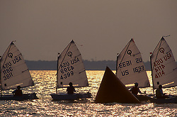 Stock photo of sailboats participating in competition at dusk
