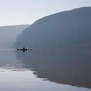 Kayaking the Hudson River toward Bannerman's Island with Stormking Mountain in background