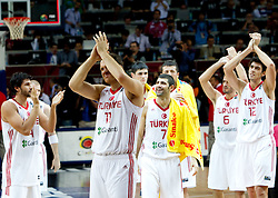 Players of Turkey after they lost the finals basketball match between National teams of Turkey and USA at 2010 FIBA World Championships on September 12, 2010 at the Sinan Erdem Dome in Istanbul, Turkey.  USA defeated Turkey 81 - 64 and became World Champion 2010. (Photo By Vid Ponikvar / Sportida.com)