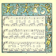 Girls and Boys Come out To play / The Moon does shine as bright as day.  From the Book '  The baby's opera : a book of old rhymes, with new dresses by Walter Crane, and Edmund Evans Publishes in London and New York by F. Warne and co. in 1900