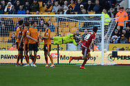 Middlesbrough midfielder Stewart Downing scores a free kick during the Sky Bet Championship match between Wolverhampton Wanderers and Middlesbrough at Molineux, Wolverhampton, England on 24 October 2015. Photo by Alan Franklin.