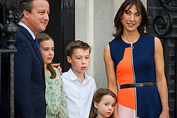 © Licensed to London News Pictures. 13/07/2016. London, SAMANTHA and DAVID CAMERON leave Downing Street in London with their children ARTHUR, FLORENCE and NANCY,  for the last time before Theresa May is sworn in this evening. Photo credit: Ben Cawthra/LNP