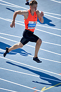 Poland, Radom - 2020 September 12: Oliwer Wdowik (CWKS Resovia Rzeszow) from Poland competes in men's 200 meters semifinal while 74. PZLA Athletics Polish Championships U20 - Radom 2020 - Day#2 during pandemic COVID-19 at MOSiR Stadium on September 12, 2020 in Radom, Poland.<br /> <br /> Mandatory credit:<br /> Photo by © Adam Nurkiewicz<br /> <br /> <br /> Adam Nurkiewicz declares that he has no rights to the image of people at the photographs of his authorship.<br /> <br /> Picture also available in RAW (NEF) or TIFF format on special request.<br /> <br /> Any editorial, commercial or promotional use requires written permission from the author of image. Single publication only for informational, journalistic or documentary purposes inside a newspaper, magazine or book (digital versions allowed). One edition on the territory of one country. Resale is forbidden.<br /> <br /> Image can be used in the press when the method of use and the signature does not hurt people on the picture.