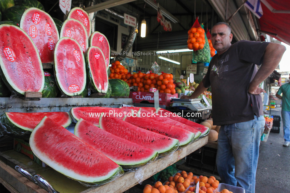 Stall selling watermelons Photographed at the Carmel Market, Tel Aviv, Israel