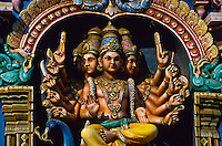 Hindu deities on gopuram (tower), Sri Meenakshi Temple, Madurai, Tamil Nadu, India